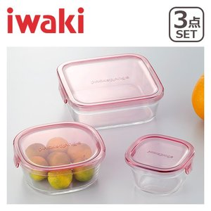 iwaki(イワキ)パック&レンジ 角型3点セット ピンク PSC-PRN3P1 耐熱ガラス 保存容器 daily-3