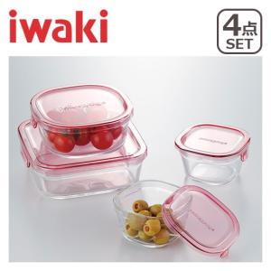 iwaki(イワキ)パック&レンジ 角型4点セット ピンク PSC-PRN4P1 耐熱ガラス 保存容器 daily-3
