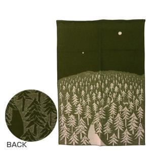 【一枚の絵画みたいな素敵な柄。静かな夜の森に佇む家がとってもクールな印象】 ほっこり暖かなウールブラ...
