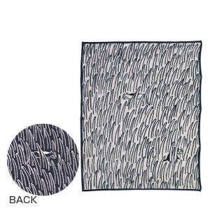 KLIPPAN クリッパン オーガニックコットン&シュニール織り ブランケット 140x180 2CATS ネコ ネイビーブルー|daily-3