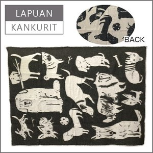 ラプアン カンクリ(Lapuan Kankurit)ブランケット 130x180 KOIRAPUISTO(イヌ柄) ブラック ・ ホワイト|daily-3