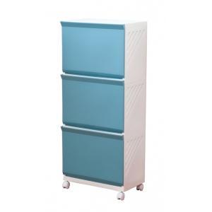 平和工業 ランドリーボックス3段 Clevan323 ブルー|daily-goods-shop