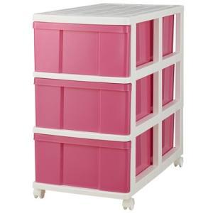 押入れ収納ケース3段キャスター付き ピンク|daily-goods-shop