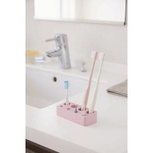 歯ブラシ&歯間ブラシスタンド ミスト ピンク 山崎実業|daily-goods-shop