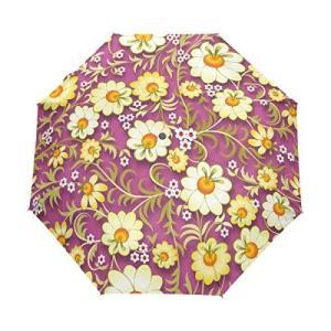 マキク(MAKIKU) 花柄 パープル 芸術 折り畳み傘 軽量 ワンタッチ自動開閉 晴雨兼用 UVカット 頑丈な8本骨 耐強風 撥水 3段式 daim-store