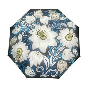 マキク(MAKIKU) 花柄 ピカピカ ホワイト ブルー 折り畳み傘 軽量 ワンタッチ自動開閉 晴雨兼用 UVカット 頑丈な8本骨 耐強風 撥水 daim-store