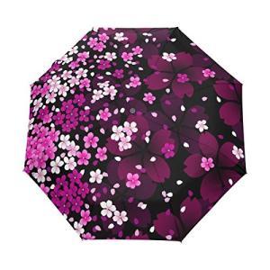 マキク(MAKIKU)折りたたみ傘 ワンタッチ自動開閉 黒い裏地 花モチーフ 花柄 パープル UVカット 頑丈な8本骨 耐風 撥水 軽量楽々 3段式 daim-store