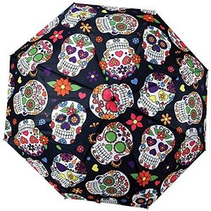LORVIES Day Of The Dead Sugar Skull Background Automatic 3 Folding Parasol|daim-store