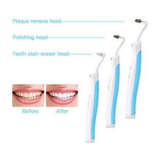 歯の消しゴム 多機能の電動のLED歯科用ツールキットオーラルケア 歯間クリーナー アタッチメント4種 (ブルー)(CkeyiN)|daim-store