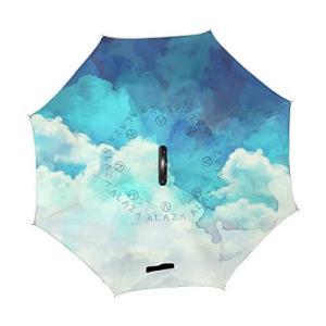 旅立の店 逆折り式傘 逆さ傘 長傘 自立可能 二重生地 便利 レディース メンズ C型手元 耐風撥水 晴雨兼用 水彩絵 雲 空 おしゃれ|daim-store