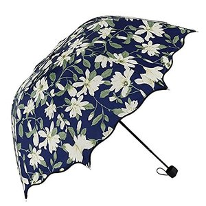 Plojuxi 傘 折りたたみ傘 レディース傘 かわいい花柄模様 新聞柄模様 青空柄 ユリ柄 葉柄 高強度 グラスファイバー 雨傘 日傘 耐強風|daim-store