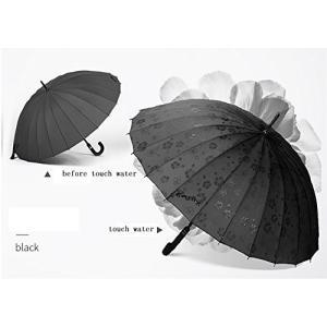 ビンテージロングハンドル傘女性のスタイルのスティック傘24K (色 : Black) daim-store