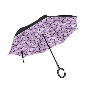 SUKAU 逆折り式傘 日傘 逆転傘 逆さ傘 花柄 パープル 長傘 自立傘 晴雨兼用 UVカット 遮光遮熱 撥水加工 耐風 手離れC型手元|daim-store