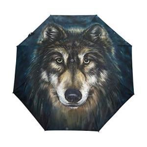 Wolf Abstract 自動折りたたみ傘 UV保護 自動開閉 折りたたみ式 防風 日よけ 旅行 ビーチ レディース キッズ 10.5 In x|daim-store