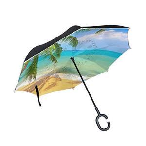 SUKAU 逆さ傘 逆折り式傘 日傘 逆転傘 長傘 自立傘 晴雨兼用 UVカットハワイ 海 空 風景 景色 遮光遮熱 撥水加工 耐風 手離れC型手元|daim-store