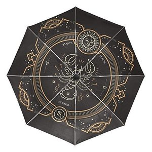 Senuu Scorpion Zodic 星座傘 大型 旅行 自動開閉 日よけ傘 レディース メンズ 42.5 Inches canopy ブラック|daim-store