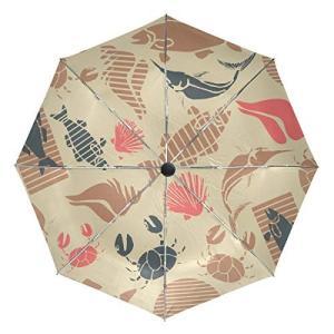 Shell Fish Art 傘 大きな旅行 自動開閉 日よけブロック 傘 レディース メンズ 42.5 Inches canopy ブラック|daim-store