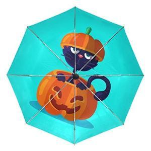 Senuu ハロウィンキャットムーン傘 大きな旅行 自動開閉 サンブロッキング傘 レディース メンズ 42.5 Inches canopy ブラック|daim-store