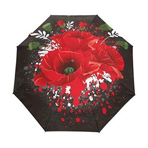 Nigbin Paint ピーチフラワー傘 自動開閉 旅行 日除け 防風傘 男女兼用 42.5 Inches canopy ブラック|daim-store