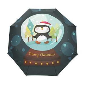 Nigbin ヒップスター クリスマス ペンギン 傘 自動開閉 旅行 日よけ 防風傘 男女兼用 42.5 Inches canopy ブラック|daim-store