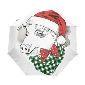 Nigbin クリスマス ペンギン ファミリー 傘 自動開閉 旅行 日よけ 防風 傘 レディース メンズ 42.5 Inches canopy|daim-store