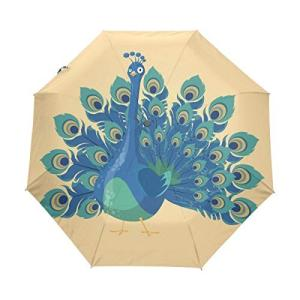 Nigbin アニマルブルーピーコック傘 自動開閉 旅行 日よけ 防風傘 レディース メンズ 42.5 Inches canopy ブラック|daim-store