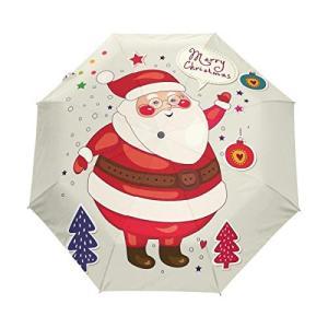 Nigbin メリークリスマス 父 傘 自動開閉 旅行 日よけ 防風傘 レディース メンズ 42.5 Inches canopy ブラック|daim-store