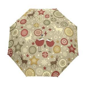 Nigbin デイジーフラワーバードアンブレラ 自動開閉 旅行用 日除け 防風傘 レディース メンズ 42.5 Inches canopy ブラック|daim-store