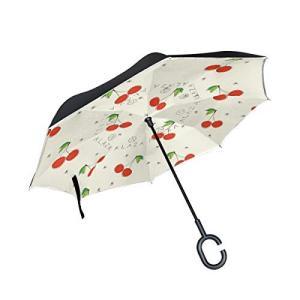 Tskyoo 逆さ傘 長傘 さくらんぼ おしゃれ ワンタッチ 二重生地構造 手離れC型手元 撥水加工 車用 自立式 uvカット 晴雨兼用の商品画像|ナビ