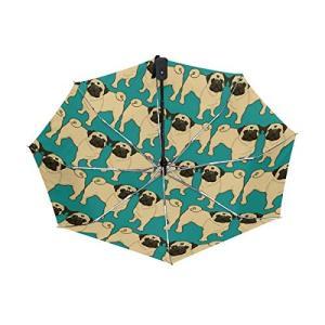 SUKAU 折り畳み傘 レディース 自動開閉 軽量 晴雨兼用 犬柄 パグ柄 日傘 uvカット ワンタッチ 紫外線対策 頑丈な8本骨 収納ケース付|daim-store