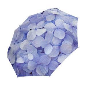 折りたたみ傘 自動開閉 レディース 紫陽花柄 アジサイ柄 軽量 携帯 日傘 ワンタッチ UVカット 頑丈な8本骨 耐強風 グラスファイバー|daim-store