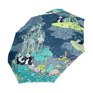 折りたたみ傘 自動開閉 レディース パンダ バンブーフォレスト 軽量 携帯 日傘 ワンタッチ UVカット 頑丈な8本骨 耐強風 グラスファイバー|daim-store