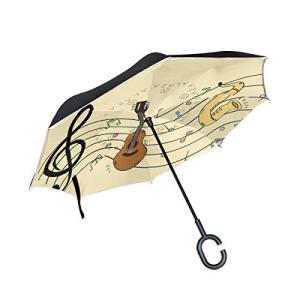 Carrozza 逆折り式傘 長傘 逆さ傘 傘 音楽 音符 ギター 楽器 車用傘 8本骨 C型ハンドル おしゃれ かわいい 晴雨両用 レディース|daim-store