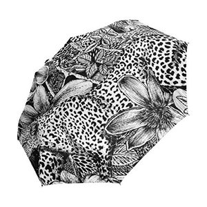 折りたたみ傘 自動開閉 レディース ヒョウ 花柄 黒 軽量 携帯 日傘 ワンタッチ UVカット 頑丈な8本骨 耐強風 グラスファイバー 収納ケース付|daim-store