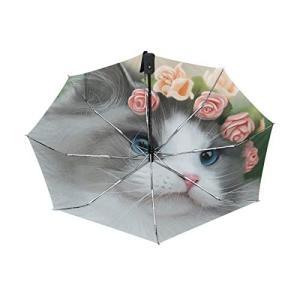 折りたたみ傘 自動開閉 レディース 軽量 晴雨兼用 かわいい ラグドール 猫と花 日傘 ワンタッチ UVカット 頑丈な8本骨 耐風 撥水 耐強風 daim-store