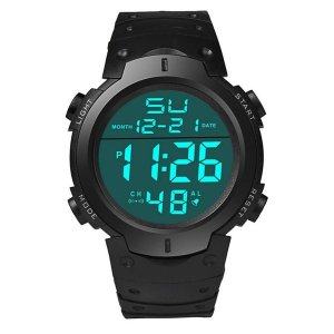 メンズ LCD デジタル 腕時計 ストップウォッチ|ブラック
