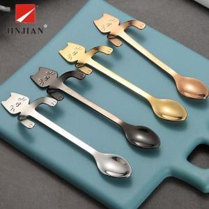 JINJIAN 黒西洋式 食器セット ステンレス鋼製  スプーン ネコ 食器 食卓 ディナーセット ...
