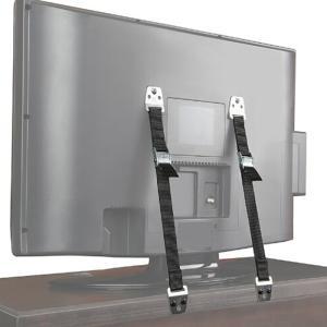 地震対策 テレビ 転倒防止 耐震 家具 固定 TV 耐震ベルト2本セット 5種類のボルトとワッシャーが付いたブラック塗装セット