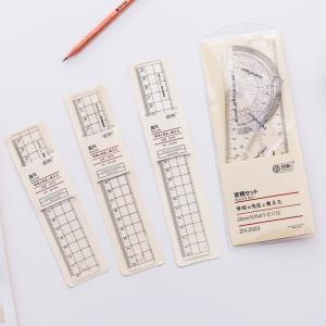 1個 透明 シンプルスタイル プラスチック定規 エスコラー オフィス文房具 描画 学用品|定規| |...