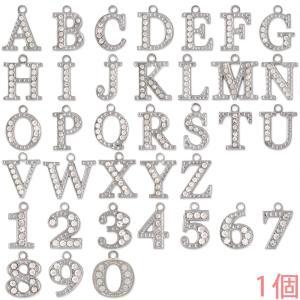 アルファベットチャーム ラインストーンチャーム PE163 (A〜Z/0〜9) ニッケル 1個入り (チャームのみ)【ゆうパケット可能】|daiomfg