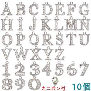 アルファベットチャーム ラインストーンチャーム PE163 (A〜Z/0〜9) ニッケル 10個入り (カニカンC25付)【ゆうパケット可能】|daiomfg