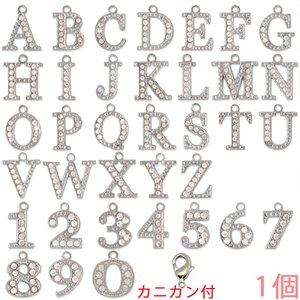 アルファベットチャーム ラインストーンチャーム PE163 (A〜Z/0〜9) ニッケル 1個入り (カニカンC25付)【ゆうパケット可能】|daiomfg