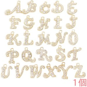 アルファベットチャーム ラインストーンチャーム Y21S (A〜Z) 薄金メッキ 1個入り (チャームのみ)【ゆうパケット可能】|daiomfg