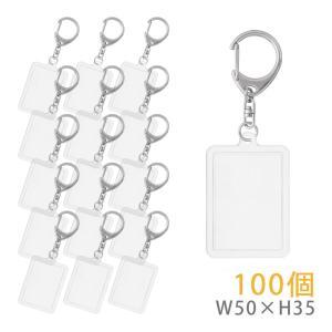 ハメパチ 長方形(中) KK50 100個入り (キーホルダー 555L付) daiomfg
