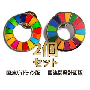 SDGs ピンバッジ バッジ 国連  【2個セット】本部限定 正規品 日本未発売 2種類 (丸型 平...
