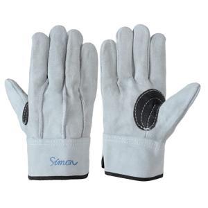 作業革手袋(皮手袋)牛床革手袋 107AAA黒銀当付 10双組 シモン dairyu22