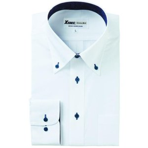 長袖Yシャツ(ワイシャツ) ボタンダウン 3L 4L クールビズ 15157 ジーベック XEBEC(15157xe-b)|dairyu22
