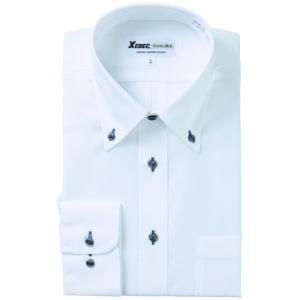 長袖Yシャツ(ワイシャツ) ボタンダウン クールビズ 15158 ジーベック XEBEC(15158xe)|dairyu22