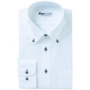 長袖Yシャツ(ワイシャツ) ボタンダウン 3L 4L クールビズ 15158 ジーベック XEBEC(15158xe-b)|dairyu22