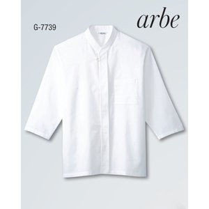 白衣 和風シャツ 七分袖 ポリエステル100% G-7739 サービスユニフォーム チトセ|dairyu22